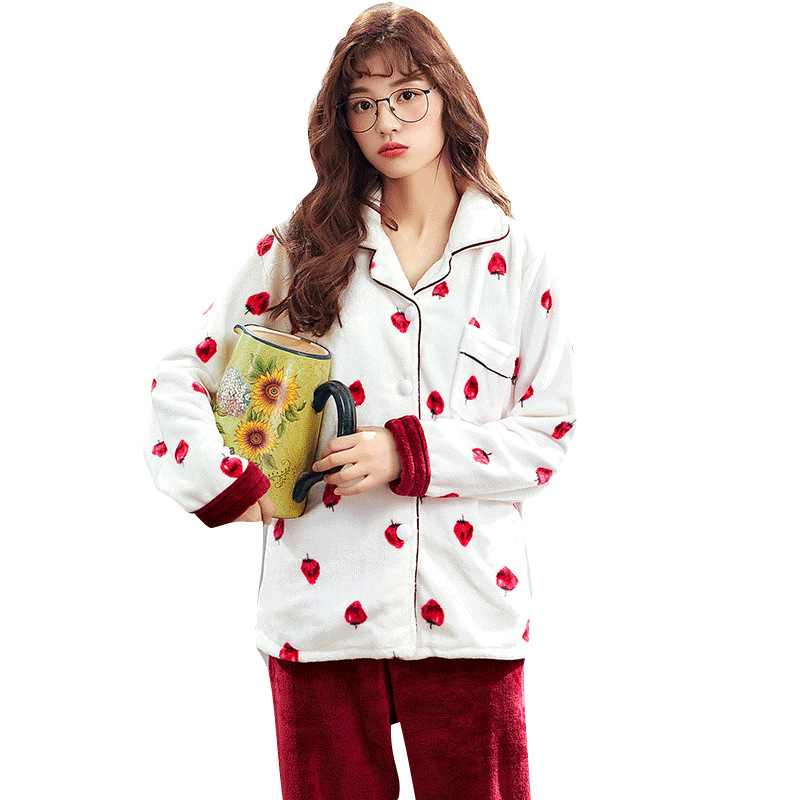 JINUO Корейская версия зимние женские фланелевые пижамные комплекты для молодых девушек мультфильм фрукты животных комплект пижам с принтом мягкая домашняя одежда