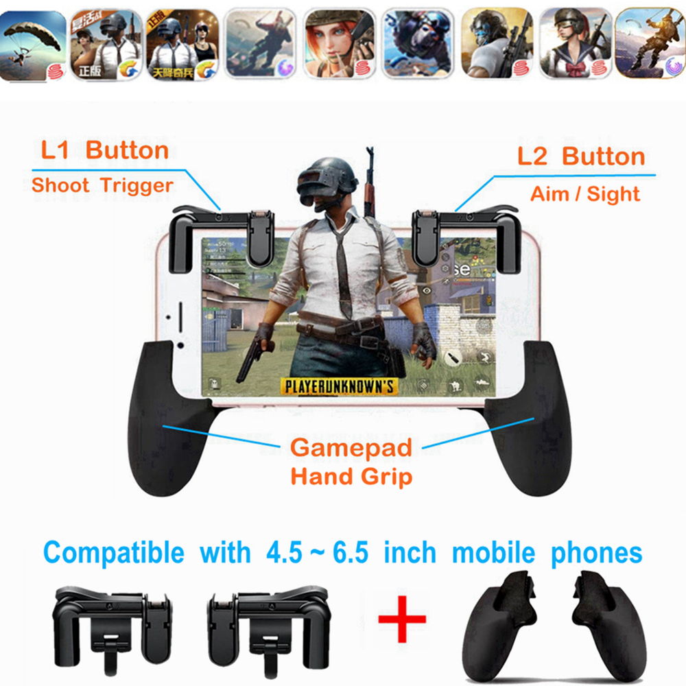 Pubg Mobile Game Controller Phone Grip With Joystick Fire Buttons Game L1 L2 Triggers For Android Ios Mobile Phone Gamepad Superior Performance Video Games