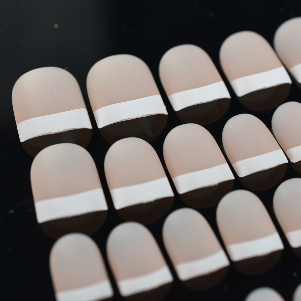 beige pink french fake nails tips