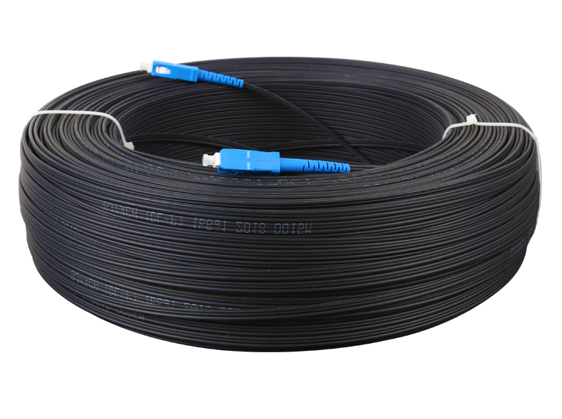 50m Outdoor Fiber Optic FTTH Drop Cable Patch Cord SC To SC Simplex SM  200 Meters Drop Cable Patch Cord