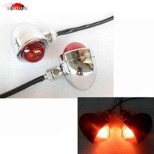 цена на Motorcycle Chrome Red Lens Bullet Style TURN SIGNAL LIGHT for Harley Sporster Softail Bobber