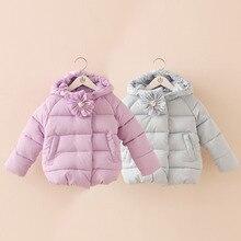 Bébé fleur veste ouatée 2016 hiver enfant de sexe féminin vêtements pour enfants veste enfant coton rembourré couleur Pure vêtements wt-5992