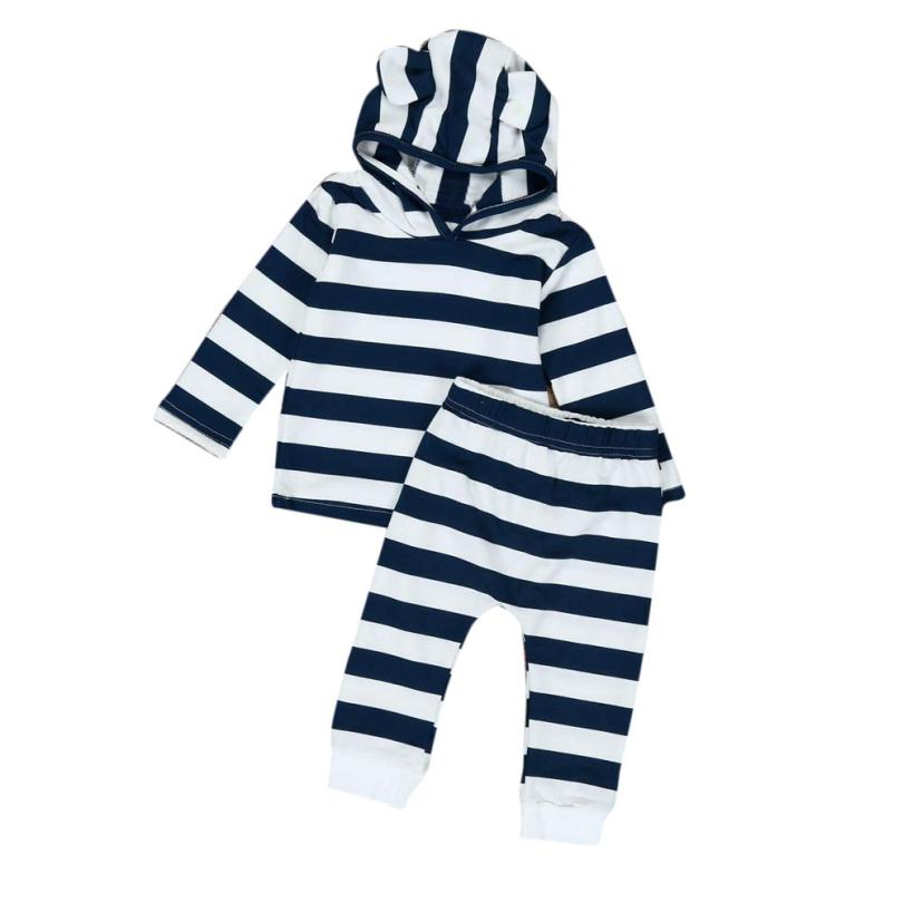 2018 Hot Sale Toddler Baby Kid Stripe Print Sweater Shirt Tops+ Pants Hood Clothes Outfits Set Comfortable And Breathable 6.15