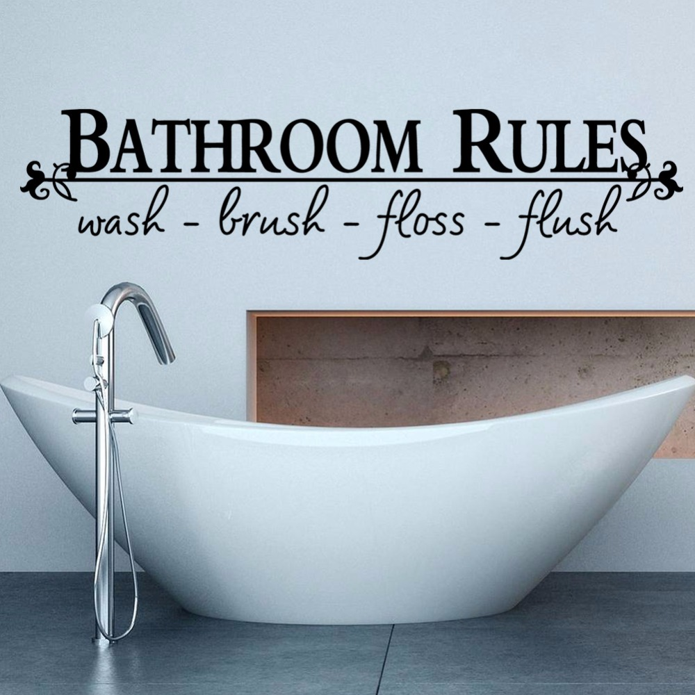 Creative Home Decor Plane Wall Stickers English Quotes Bathroom Rules  Pattern For Bathroom Decoration Finished Size