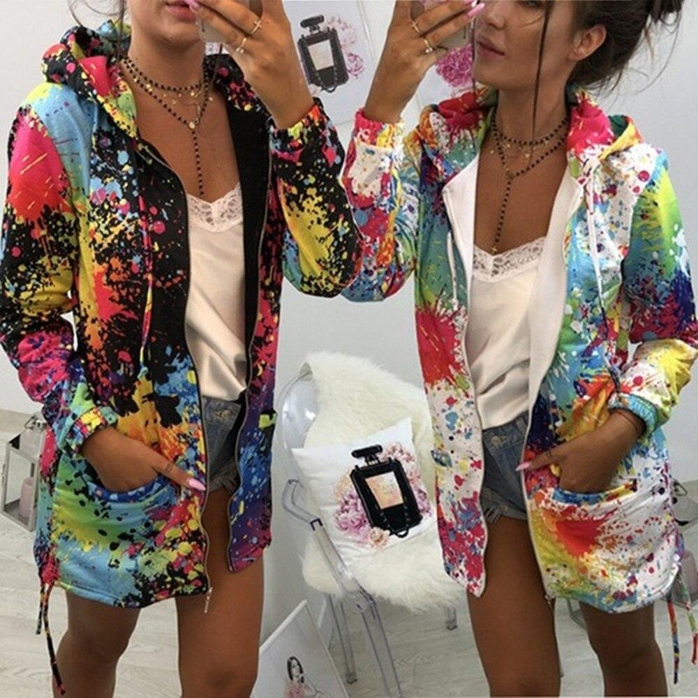 Autumn Jackets Fashion Womens Tie Dyeing Print Coat Outwear Sweatshirt Hooded Jacket Female Casual Pockets Overcoat 2019