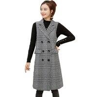 2019 Plaid Vests Jacket Women spring Sleeveless Long Outerwear Plus size Waistcoat Print Cardigan Slim Casual Tops Female H790