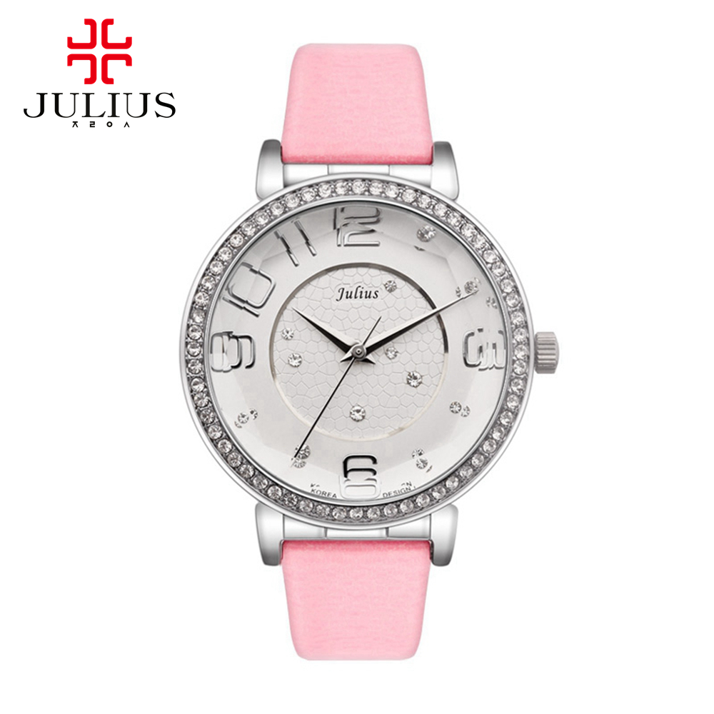 2016 Women's leather strap wrist watch women Austrian rhinestone watches Fashion casual Quartz wristwatch Hot Julius 807 clocks