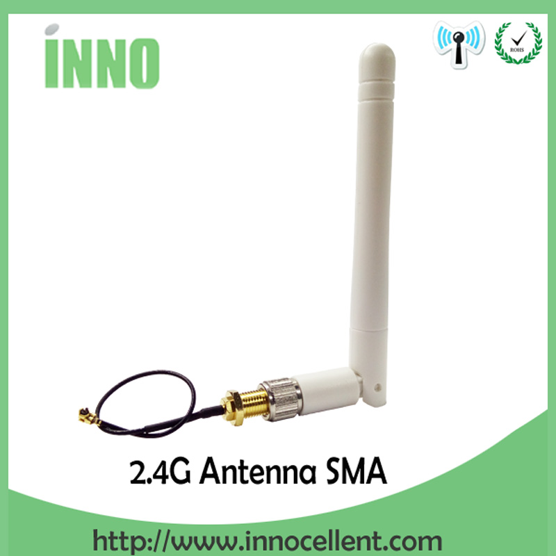 20pcs/lot 2.4GHz 3dBi Omni WIFI Antenna with SMA male connector + IPX to RP-SMA Jack Male Pin Extension Cord Pigtail Cable
