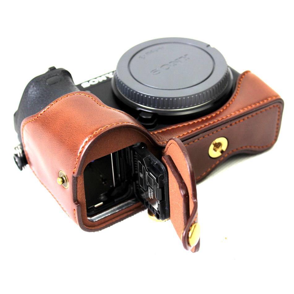PU Leather Half <font><b>Camera</b></font> Bottom Case Cover For <font><b>Sony</b></font> Alpha A6500 ILCE-<font><b>6500</b></font> With Battery Opening Black/Coffee/Brown image