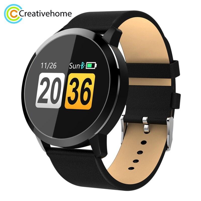 Oukitel W1 0.95 pouces OLED écran coloré affichage bracelet en cuir Bluetooth montre intelligente, IP67 étanche, Support Android et IOS