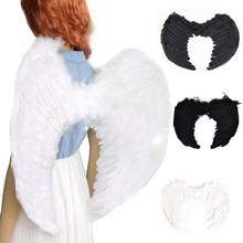 4 maten Wit Zwart Fashion Feather Fairy Angel Wings Hen Night Fancy Dress Kostuum Halloween Party Event Supplies(China)