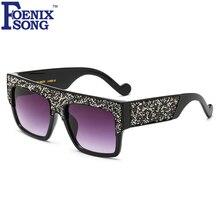 FOENIXSONG Rectángulo Espejo gafas de Sol de Las Mujeres Del Diamante Gafas de Sol de Diseñador de la Marca Marco De Plástico Niñas Gafas UV400 gafas de Sol