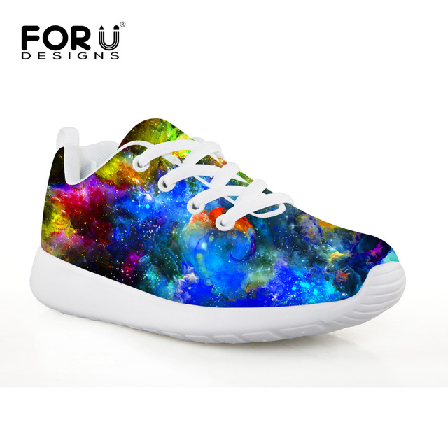 FORUDESIGNS Blue Space 3D Galaxy Boys Sneakers Professional Outdoor Soccer Shoes TF Turf Sole Children Athletic Training Shoes