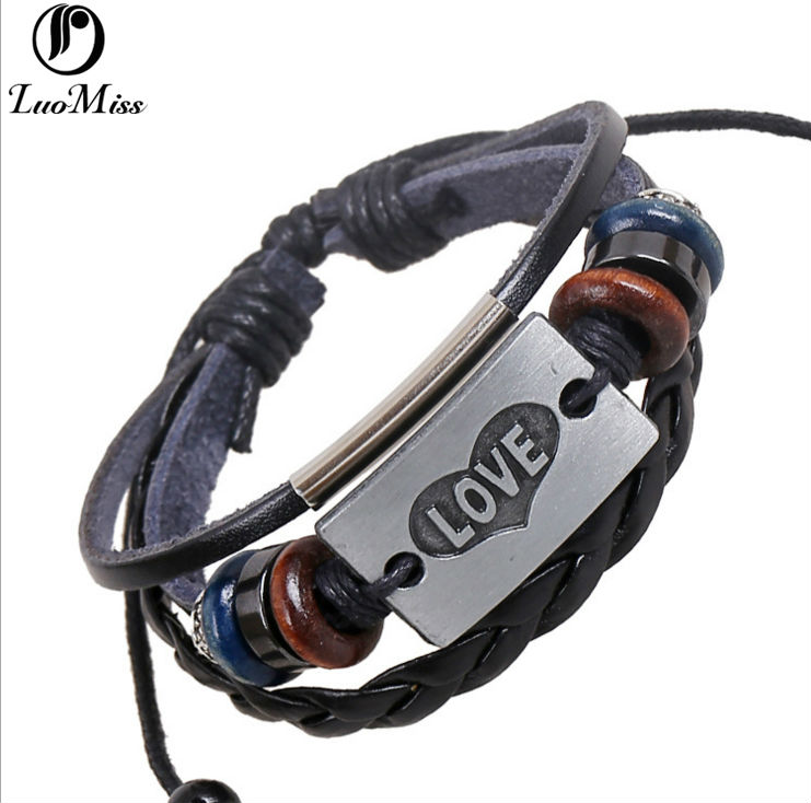 Hot Trendy Love Heart Alloy Mens Bracelet Jewelry Lovers High Quality Drap Weaver Antique Silver Leather Bangles For Women