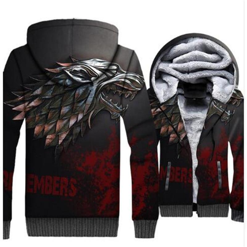 Game Of Thrones Hoodies hiver arrive maison Stark Wolf imprimer 3D vestes hommes 2018 hiver chaud Sweatshirts Hip Hop Streetwear