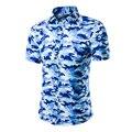 Más el Tamaño de Los Hombres de Moda Camo Azul Camisa de Los Hombres Camisa de Los Hombres de Gran Tamaño de Algodón de Manga Corta Slim Fit Hombres de Camuflaje camisas