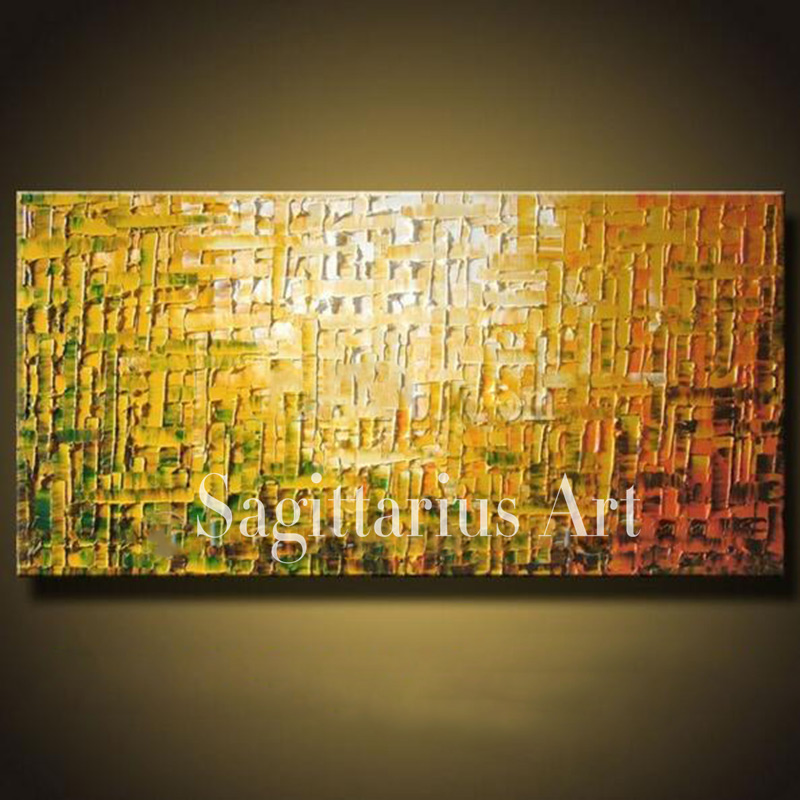 Hand Painted High Quality Modern Palette Knife Painting Orange Metal ...