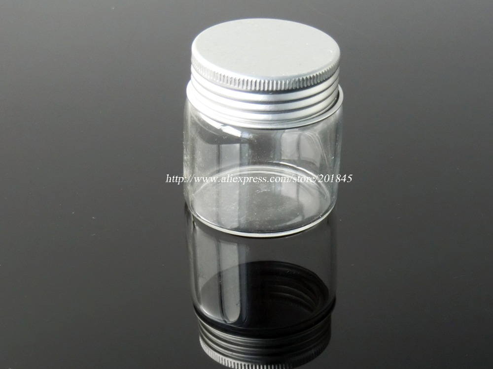50 Pcs/Lot Transparent Glass Bottle Vial Charm Tiny Glass Bottle With Silver Color Spiral Aluminum Caps Diameter 47mm 100 pcs lot of small glass vials with cork tops 1 ml tiny bottles little empty jars