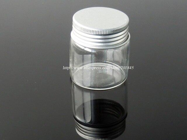 50 Pcs/Lot Transparent Glass Bottle Vial Charm Tiny Glass Bottle With Silver Color Spiral Aluminum Caps Diameter 47mm