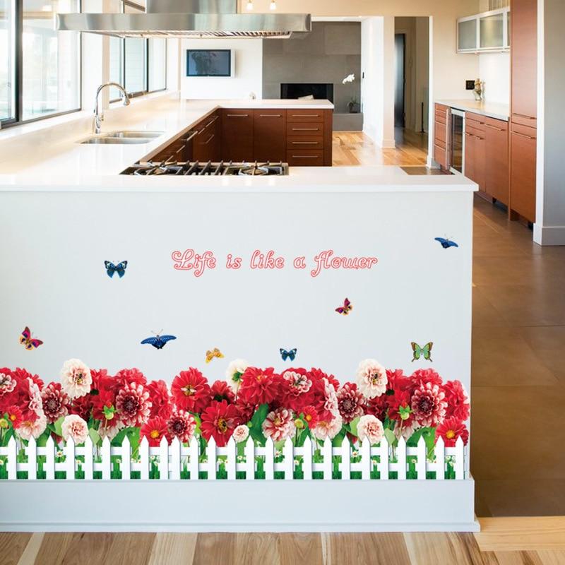 Creativo adesivi murali recinzione fresco margherita rossa piedi ...