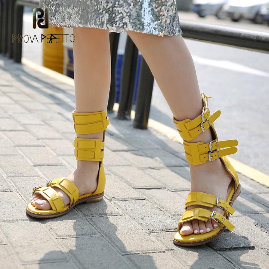 цена Prova Perfetto solid color flat heel women sandals back zipper genuine leather belt buckle boot sandals casual gladiator sandals в интернет-магазинах