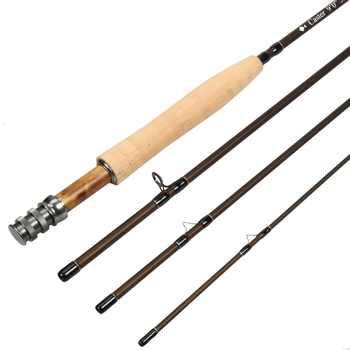 3 / 5 / 8WT Fly Rod Graphite IM 8 / 30T Carbon Fiber Matt Brown Fly Fishing Rod CNC Machined Reel Seat & Burl Wood Insert