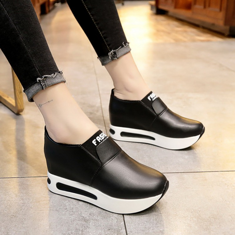 Women Platform Shoes 2018 Hidden Heel Women Casual Shoes Vulcanized Slip On Loafers Breathable Leather Toe Sneakers Spring Autum