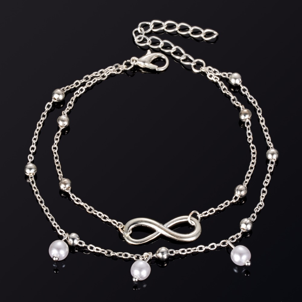 Fashion Gold Silver Color Anklet Women Simulated Pearl Infinity Charm Beads Bohemian Ankle Bracelet cheville Boho Foot Jewelry