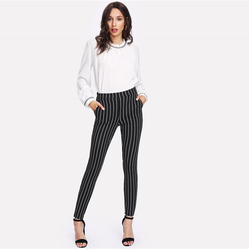 SHEIN Vertical Striped Skinny Pants Women Elastic Waist Pocket OL Style Work Trousers 18 Spring Mid Waist Long Pencil Pants 12
