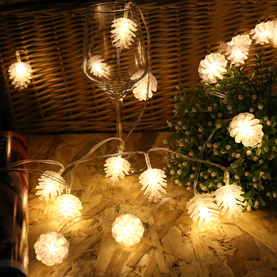 Pinecone Garland String Fairy Light 5M 20LEDs LED Pine Cone Christmas Tree Decorations For Xmas Tree Garland New Year 110V 200V