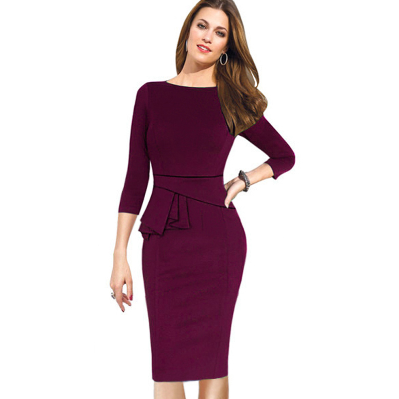 Autumn Winter Women Dress Three Quarter Sleeve Women Work ...