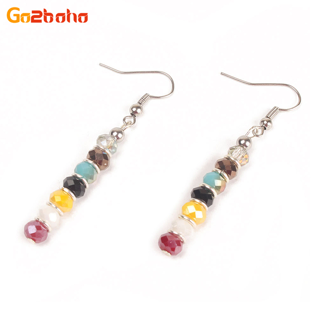 Go2boho Mini Colorful Crystal Beaded Earrings For Women Ethnic Long Seed Beads Drop Indian Style