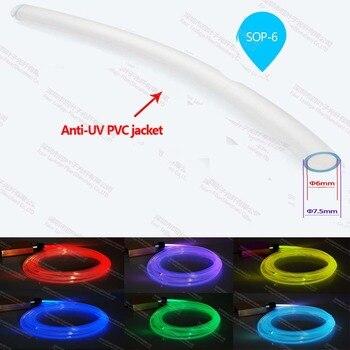 Fábrica 6 mm anti uv chaqueta impermeable ultraligero de fibra óptica lado resplandor de fibra óptica para exterior decoración
