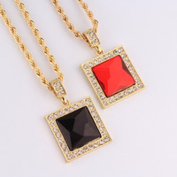 New Good Golden Big Square Pendant Crystal Iced Out Necklaces Hip Hop Style Necklaces Bling Bling Jewelry Gift