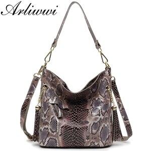 Image 2 - Модные женские сумки через плечо из 100% натуральной кожи, дизайнерские блестящие тисненые женские сумки тоуты из натуральной замши и воловьей кожи GL03