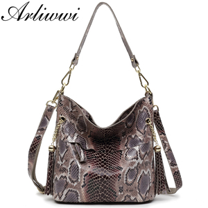 Image 2 - Fashion 100% Real Leather Lady Shoulder Bags Designer Shiny Boa Pattern Embossed Women Genuine Suede Cowhide Totes GL03