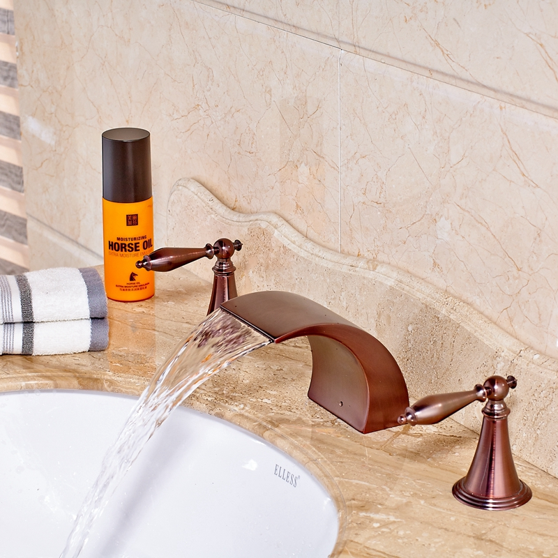 Deck-Mounted Oil Rubbed Bronze Red Sink Bathroom Vanity Mixer Tap Faucet Hot&Cold Water resistance study in tomato