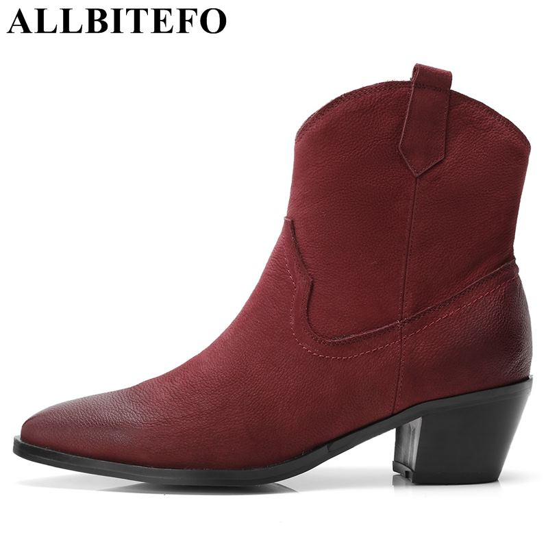 ALLBITEFO Nubuck leather pointed toe thick heel women boots fashion brand high heels ankle boots women martin boots girls shoes allbitefo plus size 34 42 genuine leather pointed toe low heeled women boots fashion brand thick heel ankle boots girls boots