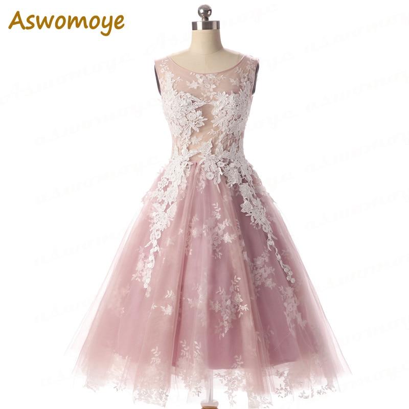Aswomoye Elegancka krótka sukienka wieczorowa 2018 Nowa elegancka - Suknie specjalne okazje - Zdjęcie 1