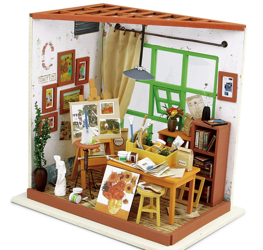 3D Puzzle DIY Crafts Furniture Kit New Wood for Kids Gift Dollhouse Adas studio Drawing DG103 Christmas Gift PayPal Payment
