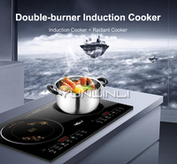 Household Double burner Electric Cooktop Induction Cooker+Radiant Cooker 2 in 1 Desk Type/Embedded Dual Use Water Proof Design