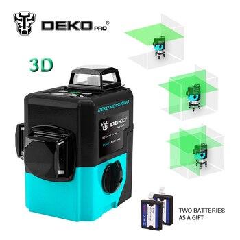 DEKOPRO LL12-HVG 12Lines 3D Green Laser Level Self-Leveling 360 degre Horizontal&Vertical Cross Powerful Outdoor can useDetector mata bor amplas