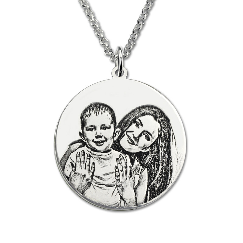 AILIN Sterling Silver  Personalized Photo Engraved Necklace Custom Photo Disc Back-Engraving Necklace Memory Gift for MotherAILIN Sterling Silver  Personalized Photo Engraved Necklace Custom Photo Disc Back-Engraving Necklace Memory Gift for Mother