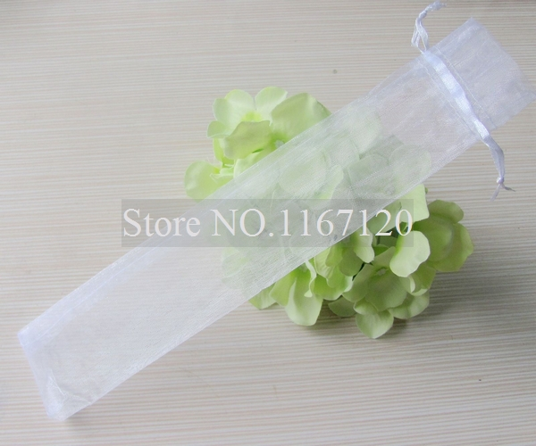 24pcs/lot New Arrived White organza Gift Bag For Hand Fans Gift Bags 27.5*5.5cm(SD01)