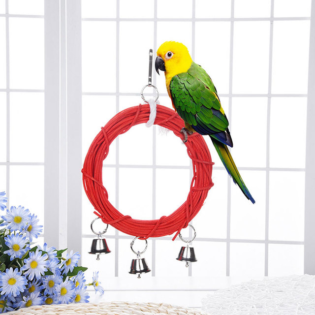 Wooden Parrot Toy Bird Stand Playing Rack Swing Wood Ring For Bird 1