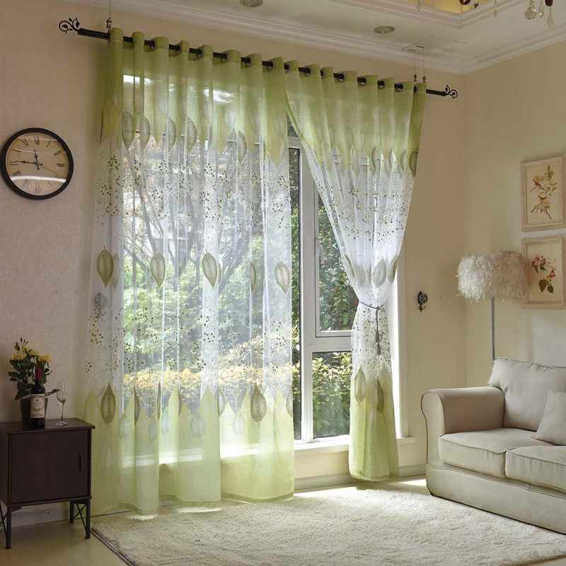 Transparent Roman Curtain Sheer Green Leaves Rustic Blinds Living Room  Kitchen Curtains Bedroom