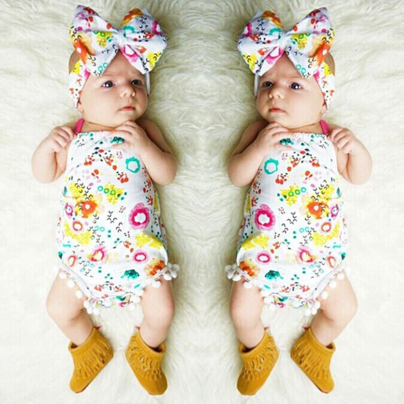 2017 Nyfödda Baby Girl Kläder Sommar Blommig Romper Backless Halter Jumpsuit Skal + Headband 2stk Outfits Sunsuit Set