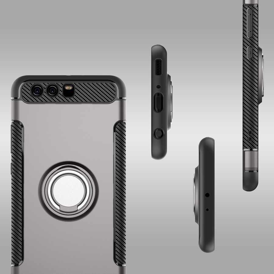Per Huawei honor 9 Lite Cassa Dura Del PC + Molle Del Silicone Per Huawei honor 9 Caso Combo Coque Anello Magnetico Della Copertura Armatura per honor 9 Lite