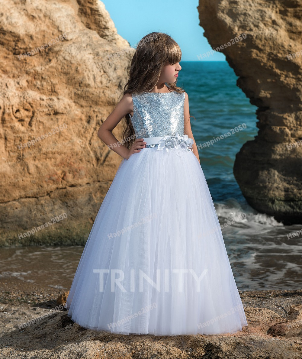 Pretty White Tullesequins Jewel Flower Girl Dresses Girls Pageant
