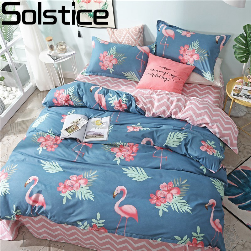 Solstice Home Textile King Single Bedding Set Girl Woman Child Adult Linens Flamingo Blue Duvet Cover Pillowcase Pink Bed Sheets